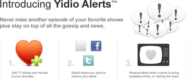 Yidio Alerts Splash Page